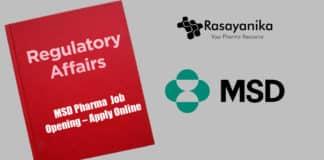 MSD Pharma Regulatory Affairs Job Opening – Apply Online