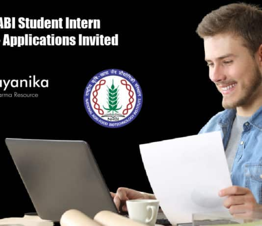 Govt NABI Student Intern Vacancy - Applications Invited