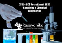 CSIR – IICT Recruitment 2020 - Chemistry & Chemical Engineering