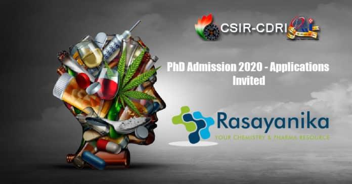 CSIR-CDRI PhD Admission 2020 - Applications Invited