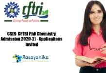 CSIR- CFTRI PhD Chemistry Admission 2020-21 - Applications Invited