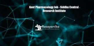 Govt Pharmacology Job - Siddha Central Research Institute