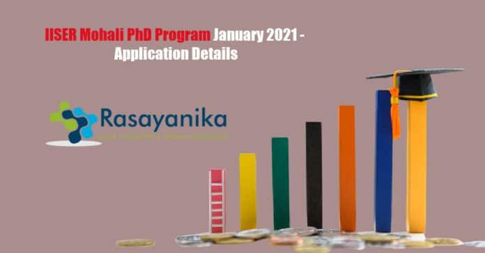 IISER Mohali PhD Program January 2021 - Application Details