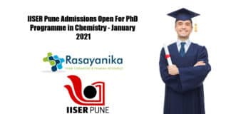 IISER Pune Admissions Open For PhD Programme in Chemistry - January 2021