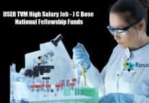 IISER TVM High Salary Job - J C Bose National Fellowship Funds