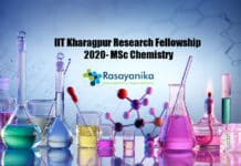 IIT Kharagpur Research Fellowship 2020- MSc Chemistry