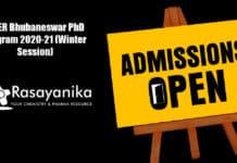 NISER Bhubaneswar PhD Program 2020-21 (Winter Session)