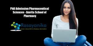 PhD Admission Pharmaceutical Sciences - Amrita School of Pharmacy