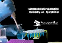 Syngene Freshers Analytical Chemistry Job - Apply Online