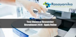Teva Chemical Researcher Recruitment 2020 - Apply Online