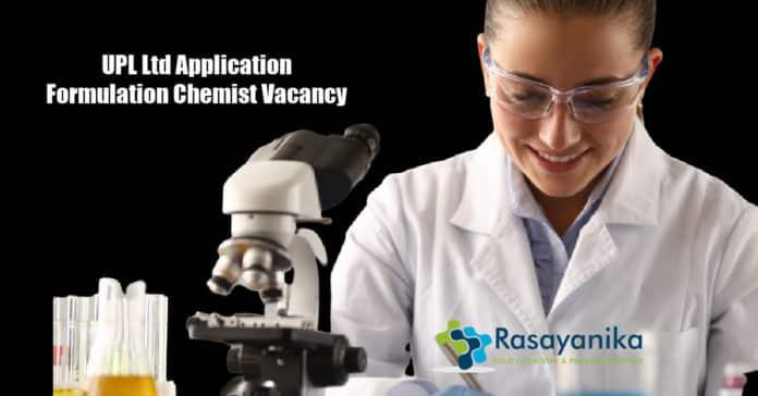UPL Ltd Application Formulation Chemist Vacancy - Apply
