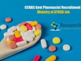 CCRAS Govt Pharmacist Recruitment - Ministry of AYUSH Job