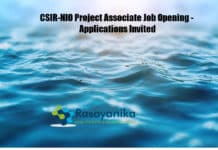 CSIR-NIO Project Associate Job Opening - Applications Invited