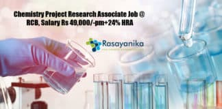 Chemistry Project Research Associate Job @ RCB, Salary Rs 49,000/-pm+24% HRA