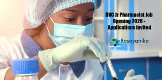 DVC Jr Pharmacist Job Opening 2020 - Applications Invited