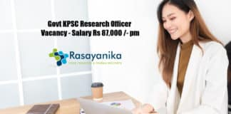Govt KPSC Research Officer Vacancy - Salary Rs 87,000 /- pm