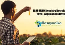 ICAR-IARI Chemistry Recruitment 2020 - Applications Invited
