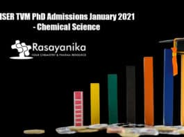 IISER TVM PhD Admissions January 2021 - Chemical Science