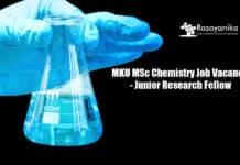 MKU MSc Chemistry Job Vacancy - Junior Research Fellow