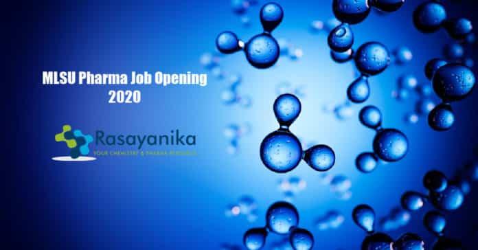 MLSU Pharma Job Opening 2020 - Applications Invited