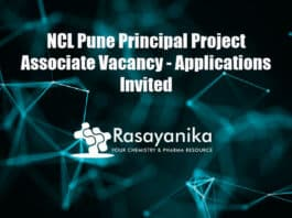 NCL Pune Principal Project Associate Vacancy - Applications Invited