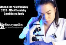 SASTRA JRF Post Vacancy 2020 - MSc Chemistry Candidates Apply