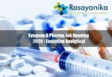 Syngene B Pharma Job Opening 2020 - Executive Analytical, Syngene B Pharma Job Pharma job opening 2020, Pharma Executive Analytical
