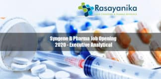 Syngene B Pharma Job Opening 2020 - Executive Analytical, Syngene B Pharma Job Pharma job opening 2020, Pharma Executive Analytical