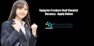 Syngene Freshers R&D Chemist Vacancy - Apply Online