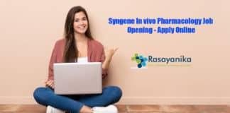 Syngene In vivo Pharmacology Job Opening - Apply Online