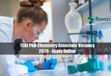 TERI PhD Chemistry Associate Vacancy 2020 - Apply Online