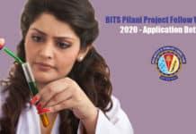 BITS Pilani Project Fellow Vacancy 2020 - Application Details