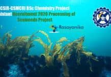 CSIR-CSMCRI BSc Chemistry Project Assistant Recruitment 2020 Processing of Seaweeds Project