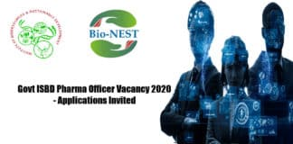 Govt ISBD Pharma Officer Vacancy 2020 - Applications Invited