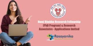Homi Bhabha Research Fellowship (PhD Program) & Research Associates - Applications Invited
