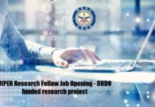 NIPER Research Fellow Job Opening - DRDO funded research project