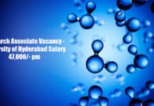 Research Associate Vacancy - University of Hyderabad EPSRC Sponsored Research Project