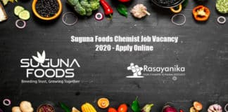 Suguna Foods Chemist Job Vacancy 2020 - Apply Online