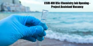 CSIR-NIO BSc Chemistry Job Opening - Project Assistant Vacancy
