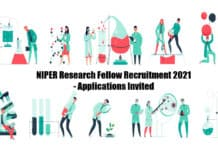 NIPER Research Fellow Recruitment 2021 - Applications Invited