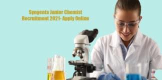 Syngenta Junior Chemist Recruitment 2021- Apply Online