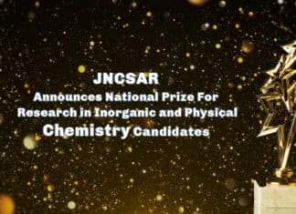 JNCSAR Announces National Prize For Research in Inorganic and Physical Chemistry Candidates