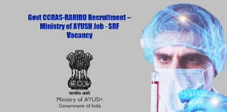 Govt CCRAS-RARIDD Recruitment – Ministry of AYUSH Job - SRF Vacancy