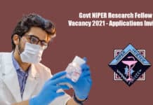 Govt NIPER Research Fellow Vacancy 2021 - Applications Invited