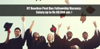 IIT Roorkee Post Doc Fellowship Vacancy - Salary up to Rs 60,000 pm /-