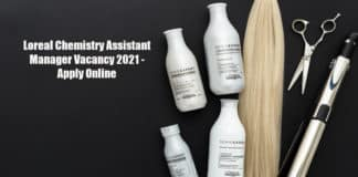 Loreal Chemistry Assistant Manager Vacancy 2021 - Apply Online
