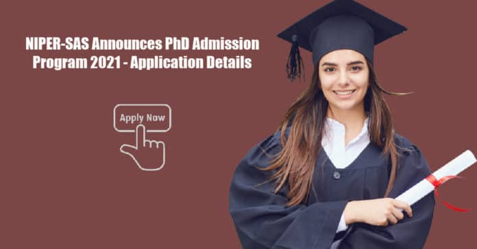 NIPER-SAS Announces PhD Admission Program 2021 - Application Details