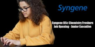 Syngene BSc Chemistry Freshers Job Opening - Junior Executive