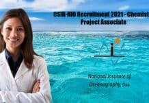 CSIR-NIO Recruitment 2021 - Chemistry Project Associate