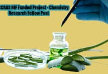 Govt CCRAS NIF Funded Project - Chemistry Research Fellow Post